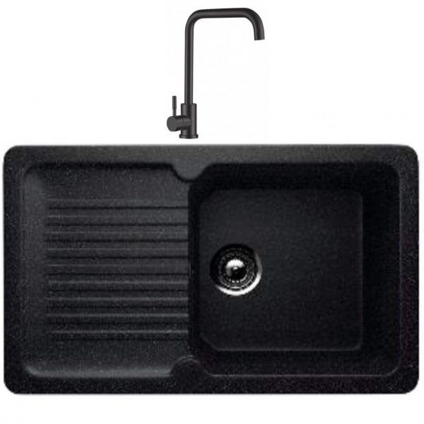 Chiuveta bucatarie dreptunghiulara 506-308 si Baterie patrata Mixxus 8473