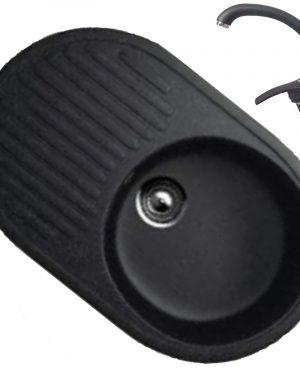 Chiuveta bucatarie ovala 107-308 cu baterie Fleko MD-275