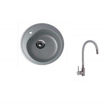 Chiuveta bucatarie rotunda 101-309 si Baterie pipa flexibila MIXXUS 8476